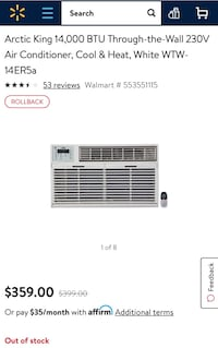 Arctic King 14000 BTU through-the-wall AC, cool & heat: 2 years used but in mint condition Farmingdale, 11735