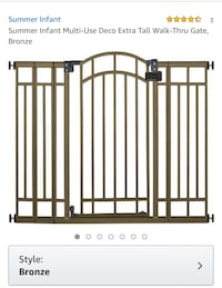 New, unused..  Summer Infant Multi-Use Deco Extra Tall Walk-Thru Gate, Bronze St Thomas, N5R 6M6
