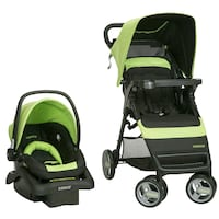 baby's green and black Cosco travel system 8 km