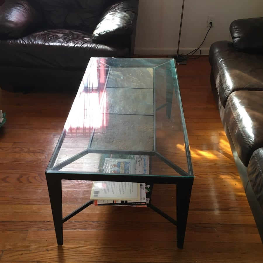 Glass Coffee Table With Marble Like Tile Build In Table Not The Glass