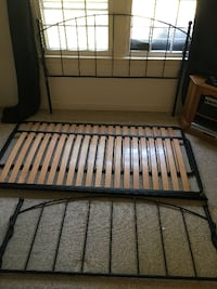 "Queen Sized Black Bed Frame with Headboard & Footboard 5' x 6'6"" Sterling"