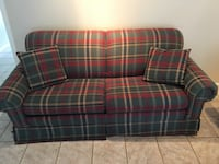 red and black plaid fabric couch (pull out bed)  Houston, 77074