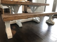 6ft farmhouse trestle dining table and bench Clover, 29710