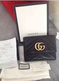 Authentic Gucci Marmont Matelasse Black Leather Wallet With Receipt  526 km