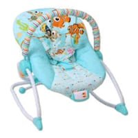 baby's blue and white bouncer Laredo