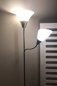 Grey and white floor lamp (2 extra bulbs included)
