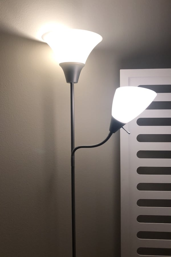 Grey and white floor lamp (2 extra bulbs included) 0