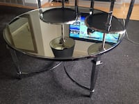 Round mirror top tables stainless steel in good condition no scratches no breaks nothing six months old two lamps