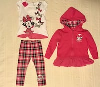 3 pc Minnie Mouse Outfit 12-18m