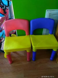 two red and green leather chairs Germantown