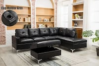NEW IN THE BOX BLACK LEATHER SECTIONAL W CUPHOLDER AND OTTOMAN 1156 mi