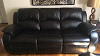 black leather 3-seat sofa Ridgefield, 07657