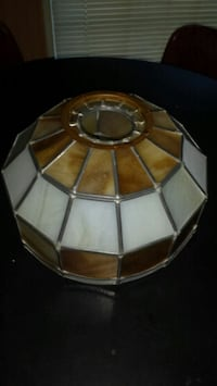 brown and white stained glass pendant lamp North Charleston, 29406