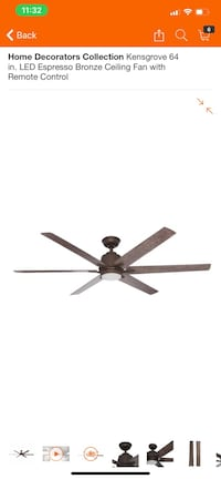 "Kensgrove 64"" Espresso Bronze Ceiling Fan with Remote Control Washington, 20001"