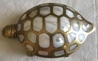 "Brass Turtle Trinket Box/Ashtray. Appx. 6"" long and 2"" high Las Vegas, 89102"