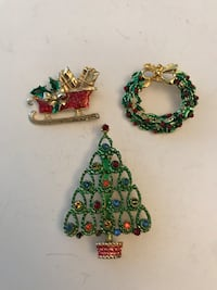 Set of 3 vintage Christmas themed brooches Laval, H7W 2J3