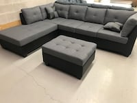 Brand new large grey fabric sectional sofa with storage ottoman  多伦多, M1V 1S4