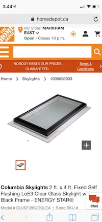 Columbia Skylights 2 ft. x 4 ft. Fixed Self Flashing LoE3 Clear Glass Skylight with Black Frame - ENERGY STAR Markham, L6C 0Y4