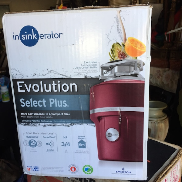 BRAND NEW INSINKERATOR Evolution Select Plus 3/4 HP Continuous feed garbage  Disposal   INCLUDES STAINLESS steel grind components for durability