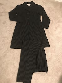 black pinstriped suit jacket and pants