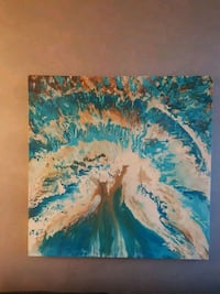 blue, brown, and white abstract painting Toronto
