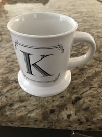 Collectible Mug Coffee Cup Alphabet A to Z Embossed K initial