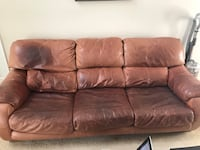brown leather 3-seat sofa Gaithersburg, 20879