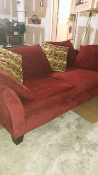 red suede sofa with throw pillows Mississauga, L5V 1P4