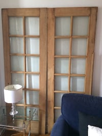 Antique x-tall pair French doors Not painted, BEVELLED GLASS  no cracks.  About 7' talk. Both doors make a complete door Toronto, M5H