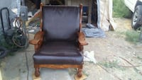 brown wooden framed black leather padded armchair Moxee, 98936