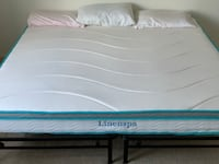 "King Size BED Frame with 8"" LinenSpa Memory Foam mattress - Like New"