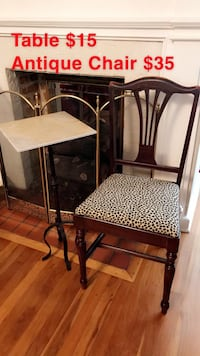 Antique Chair $25 / Side Table. $10