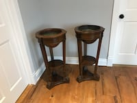Two antique wood and copper bowl plant holders  Saint-Philippe, J0L