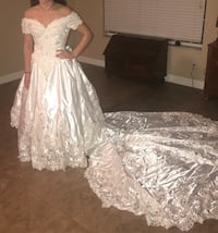 White beaded satin lace wedding dress Wesley Chapel, 33543