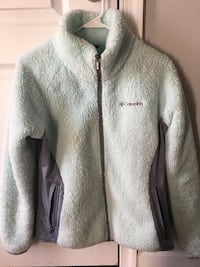 Baby blue and gray columbia zipped thermal jacket