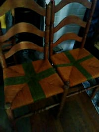 brown and green seat wooden chair