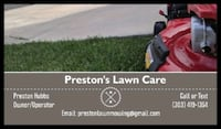 Preston's lawn mowing. Mow, trim and blow your lawn for a low price and quality work. Broomfield
