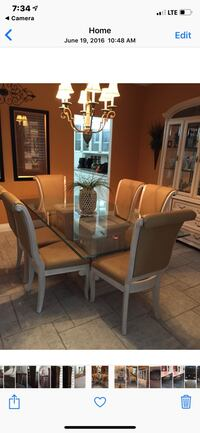 Rectangular brown wooden table with six chairs dining set Henderson, 89074