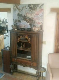 brown wooden TV hutch with CRT television Santa Fe