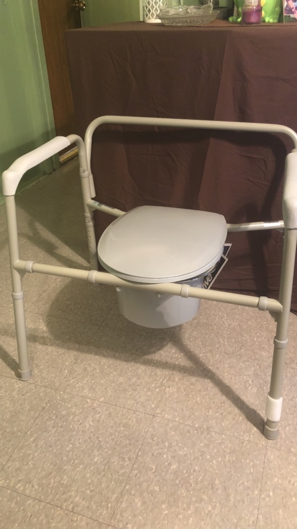 Used White and gray commode chair brand new heavy duty for sale in ...