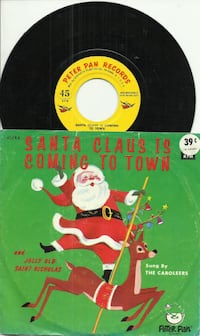Santa Claus Is Coming To Town Peter Pan Records 45 rpm 1960s  sung by  Newmarket