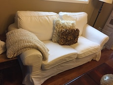Beautiful white loveseat with washable covers