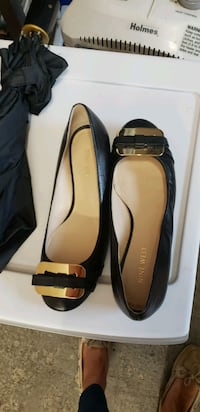 NEW Nine West gold buckle black leather flats  Tewksbury, 01876