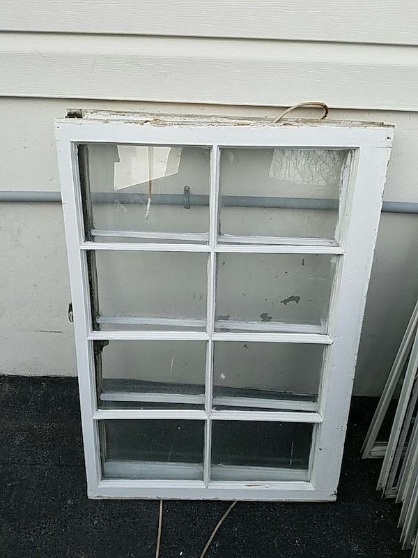 White Wooden Window Frame With Column Glass