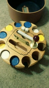Chips, cards, dices wooded holder Denver