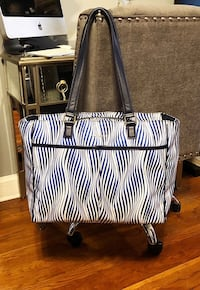 Vera Bradley Uptown Bag paid $195 Great condition! Navy blue, & White