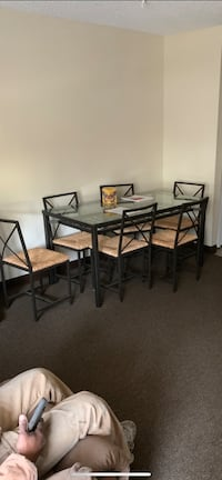 6 Piece Glass Table , Brand New Linden