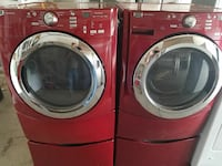 red front-load clothes washer and dryer set