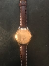 Round gold analog watch with brown leather strap San Mateo, 94401