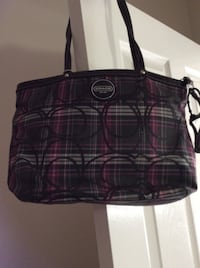 brown and red plaid leather tote bag
